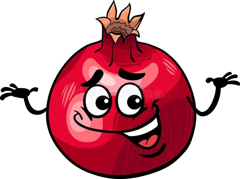 Rolig illustration för granatäpplefrukttecknad film royaltyfri illustrationer