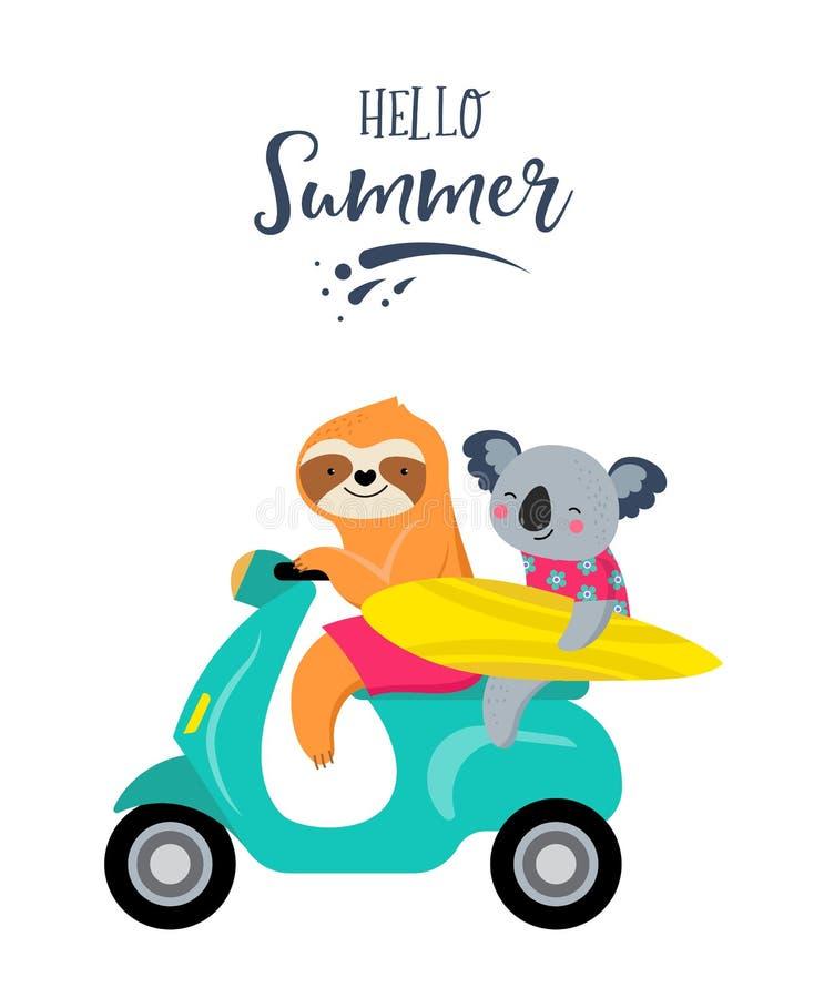 Rolig illustration f?r sommar med gulliga tecken av koalor och seng?ngare och att ha gyckel P?l-, havs- och strandsommaraktivitet stock illustrationer