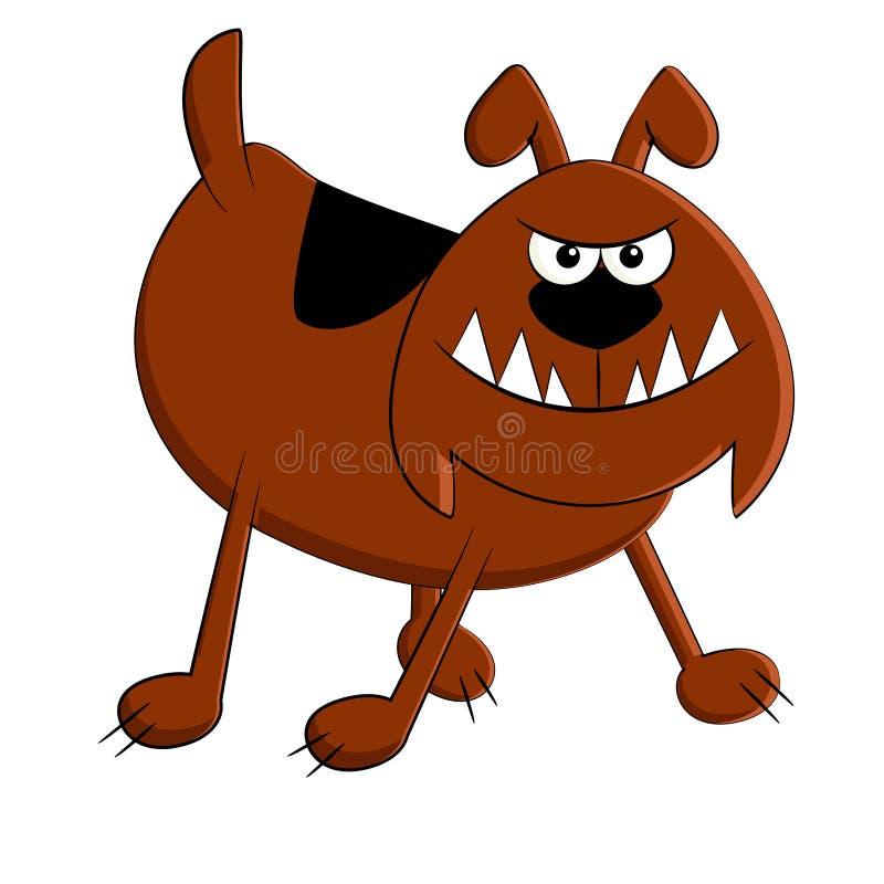 rolig ilsken brun hund vektor illustrationer