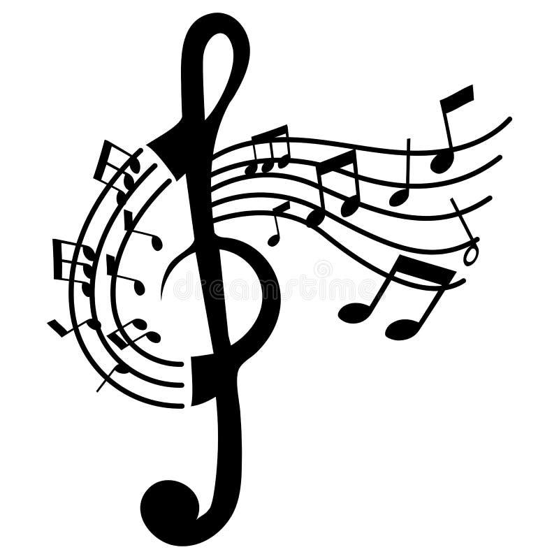 Rolig isolerad G-klavmusik royaltyfri illustrationer