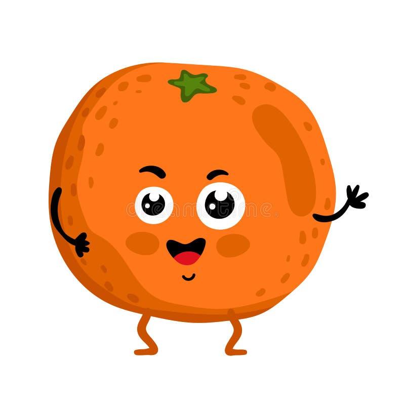 Rolig isolerat tecknad filmtecken för frukt apelsin royaltyfri illustrationer