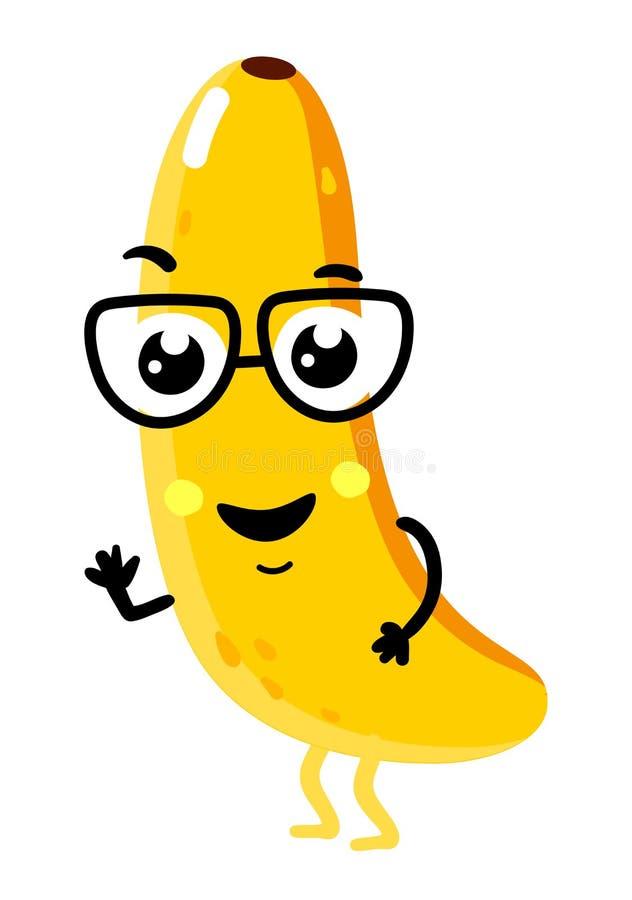 Rolig isolerat tecknad filmtecken för frukt banan vektor illustrationer