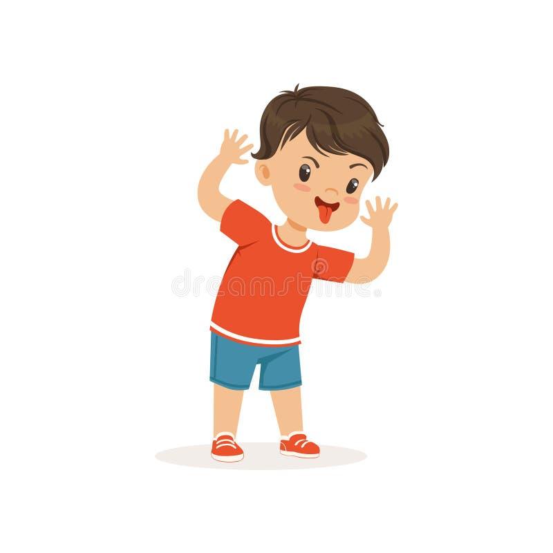 Rolig jättebra pojke som grimacing, gladlynt liten unge för ligist, dålig illustration för barnuppförandevektor vektor illustrationer
