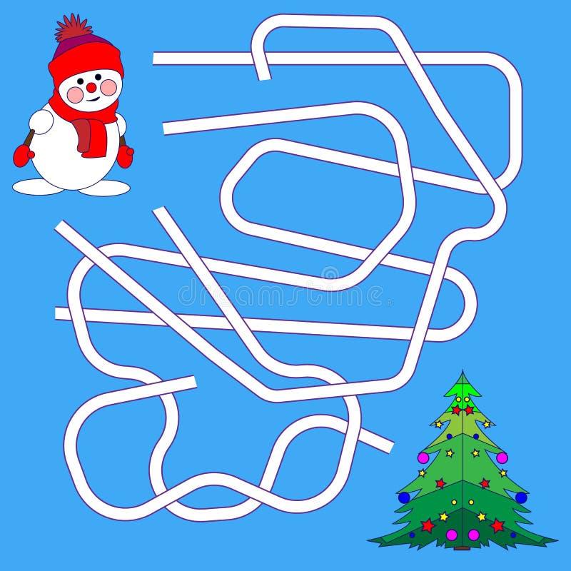 Rolig jul Maze Game: Vektorillustration för nytt år Tecknad filmillustration av banor eller Maze Puzzle Activity Game Ungar som l stock illustrationer
