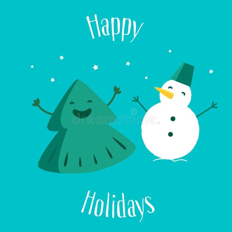 Rolig julgran med snögubben lyckliga ferier greeting lyckligt nytt år för 2007 kort också vektor för coreldrawillustration vektor illustrationer