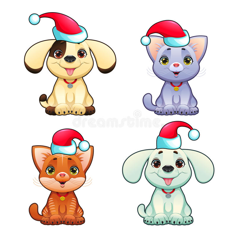 Rolig julhundkapplöpning och katter stock illustrationer