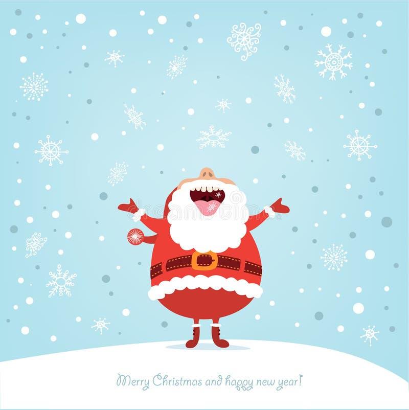 Rolig julkort med Santa royaltyfri illustrationer