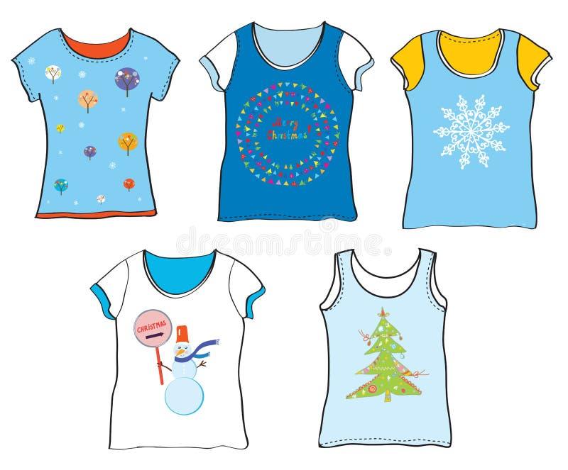 Rolig jult-skjorta uppsättning vektor illustrationer