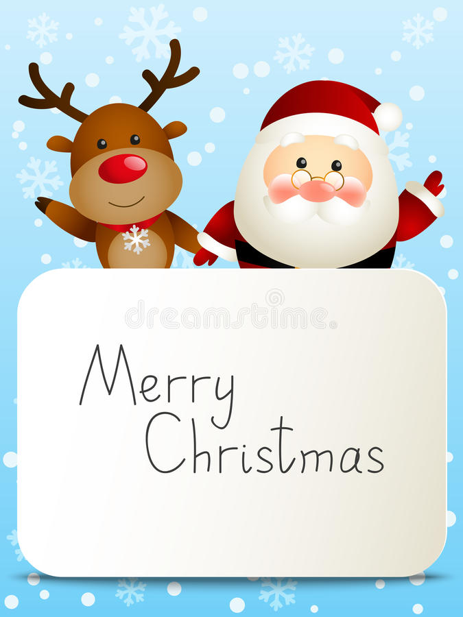 Rolig jultomten och hjortar stock illustrationer