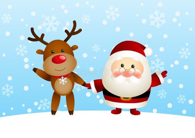 Rolig jultomten och hjortar vektor illustrationer