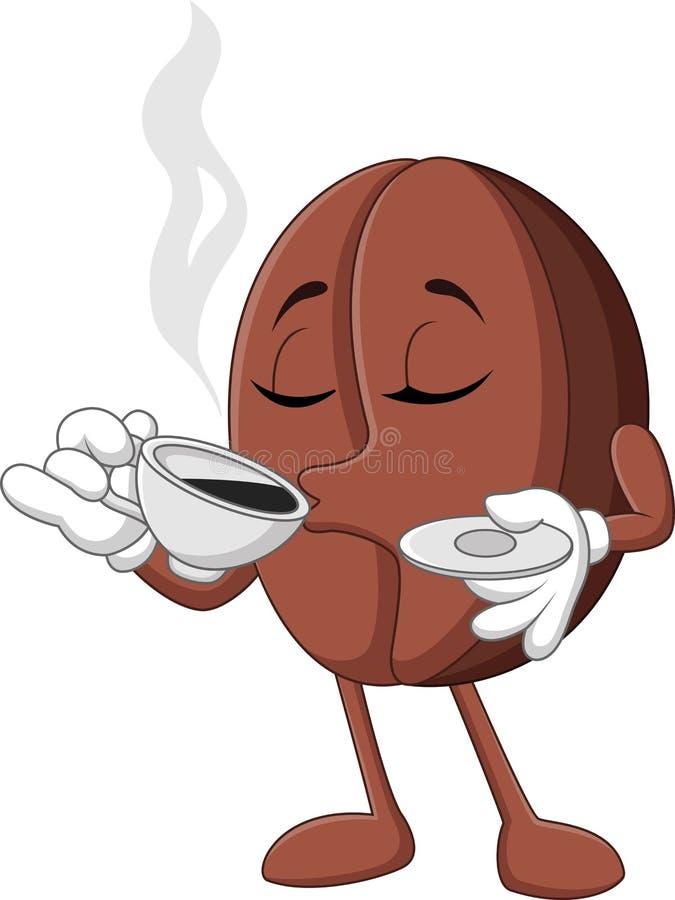 Rolig kaffeböna för tecknad film som dricker kaffe stock illustrationer