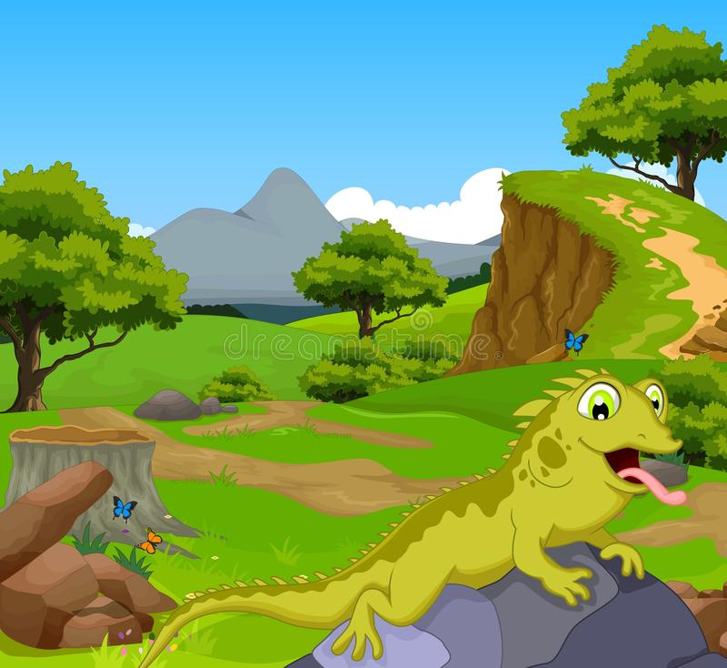 Rolig kameleonttecknad film i djungeln med landskapbakgrund stock illustrationer