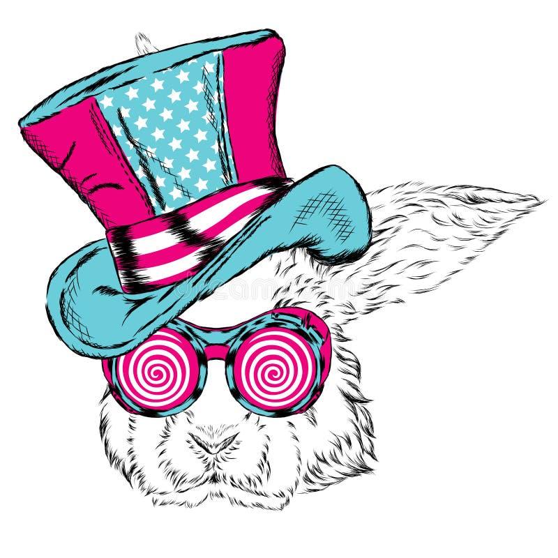 Rolig kanin i en ovanlig hatt och solglasögon stock illustrationer