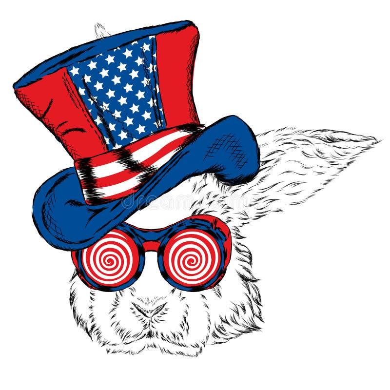 Rolig kanin i en ovanlig hatt och solglasögon vektor illustrationer