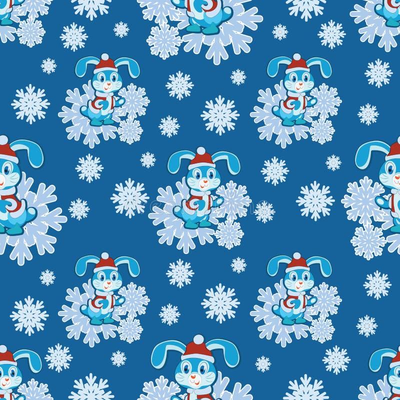 Rolig kanin i snöflingor vektor illustrationer