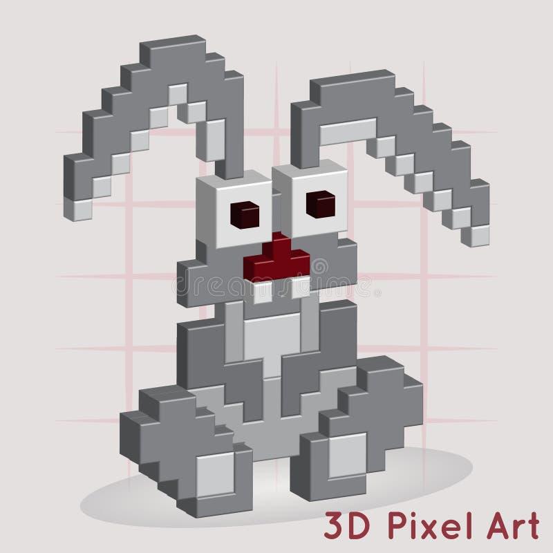 rolig kanin konst för PIXEL 3D stock illustrationer