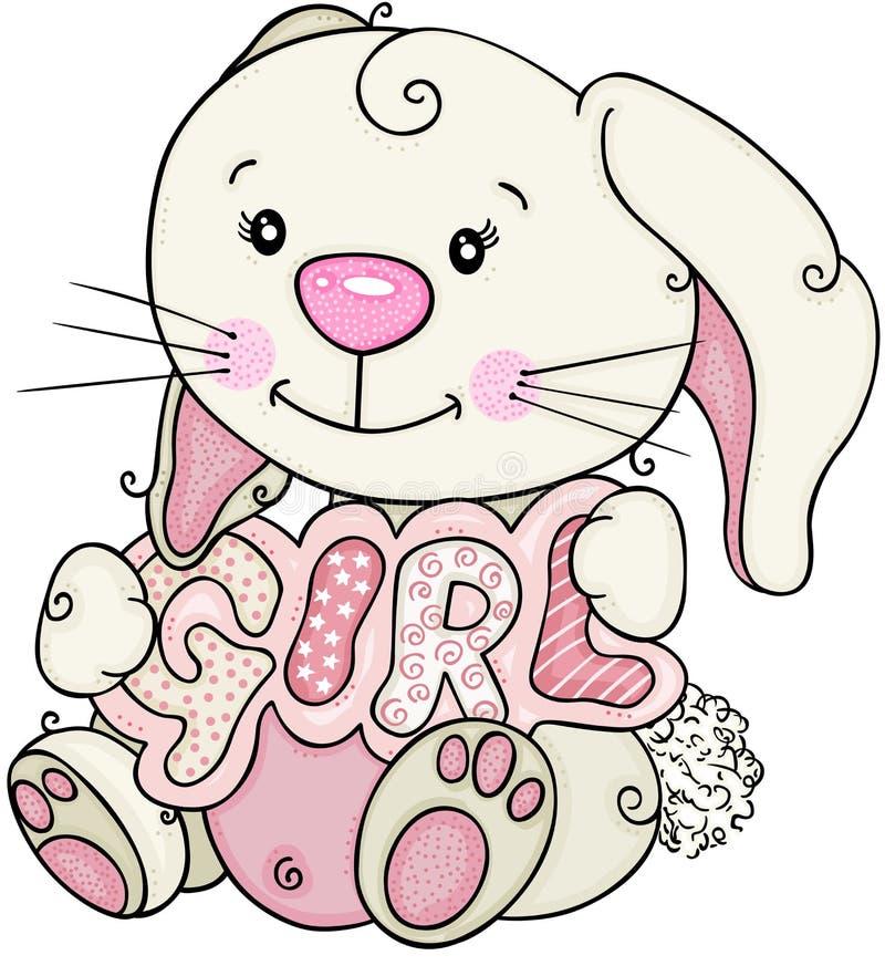 Rolig kanin som rymmer ett tecken med flickaord vektor illustrationer
