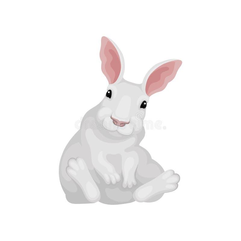 Rolig kanin som sitter på golv Den vita haren med gulligt tystar ned Djur med långa rosa öron Plan vektorsymbol royaltyfri illustrationer