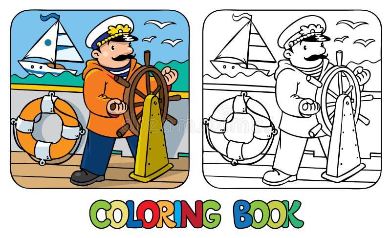 Rolig kapten eller kappseglare för färgläggningdiagram för bok färgrik illustration royaltyfri illustrationer