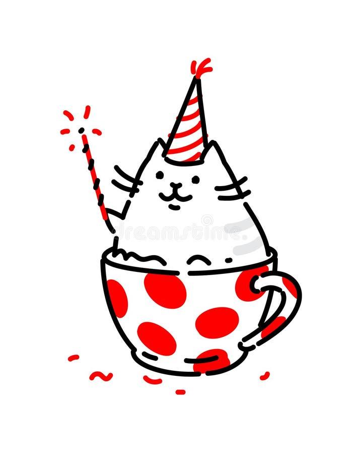 Rolig katt för tecknad film, i en kopp Plan illustration för vektor Teckenet isoleras på en vit bakgrund Logo för ett kaffehus, stock illustrationer