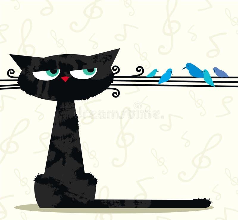 Rolig katt och fåglar stock illustrationer