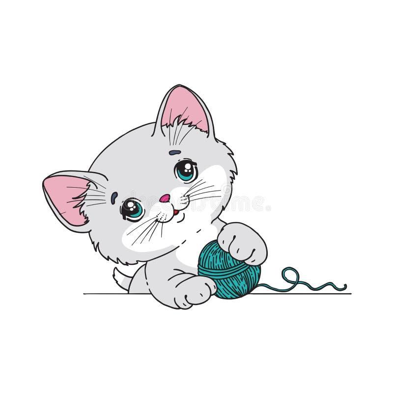 Rolig katt. Vektorillustration royaltyfri illustrationer