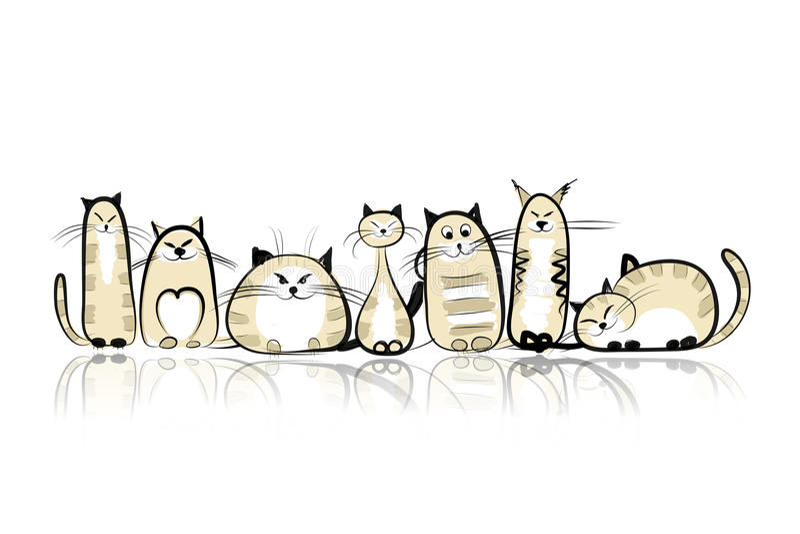 Rolig kattfamilj för din design royaltyfri illustrationer