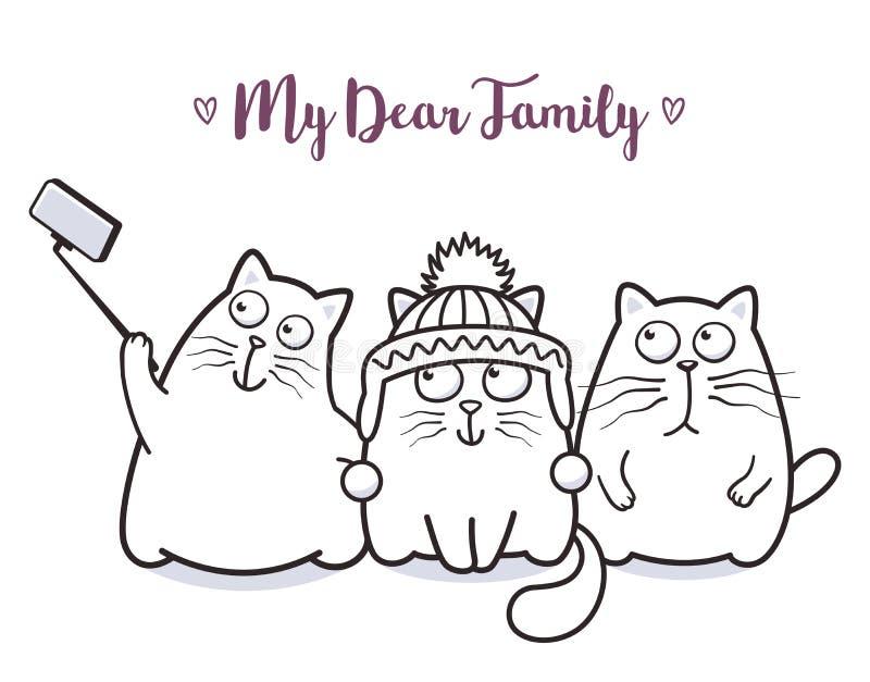 Rolig kattfamilj som tar selfie för design för hälsa kort stock illustrationer