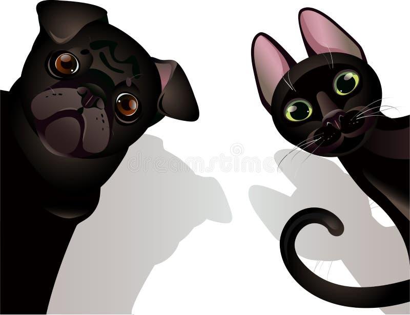 rolig katthund stock illustrationer