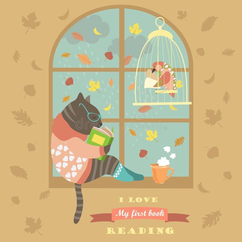 Rolig kattläsning vid fönstret stock illustrationer