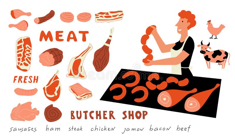 Rolig klotteruppsättning för kött Gullig tecknad filmkvinna, matmarknadssäljare med gårdsprodukter Hand tecknad vektorillustratio stock illustrationer