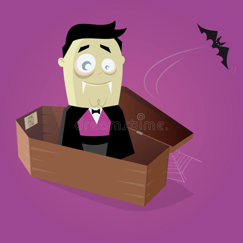 Rolig komisk vampyr i en kista royaltyfri illustrationer