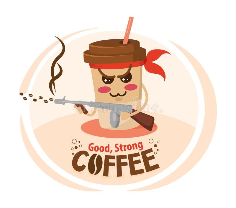 Rolig kopp för kaffe för tecknad filmtecken som rymmer en maskingevär Starkt kaffebegrepp royaltyfri illustrationer
