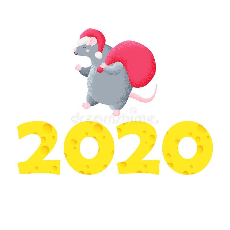 rolig kortjul kinesiskt nytt ?r tjalla ?ret Vektormall för tryck, design 2020 arkivfoto