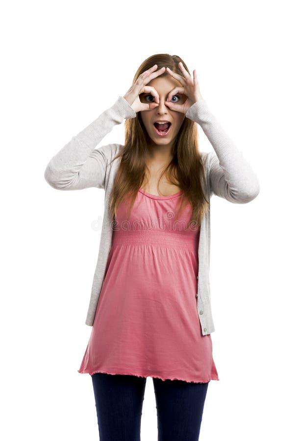 Download Rolig kvinna fotografering för bildbyråer. Bild av överrrakning - 37344871