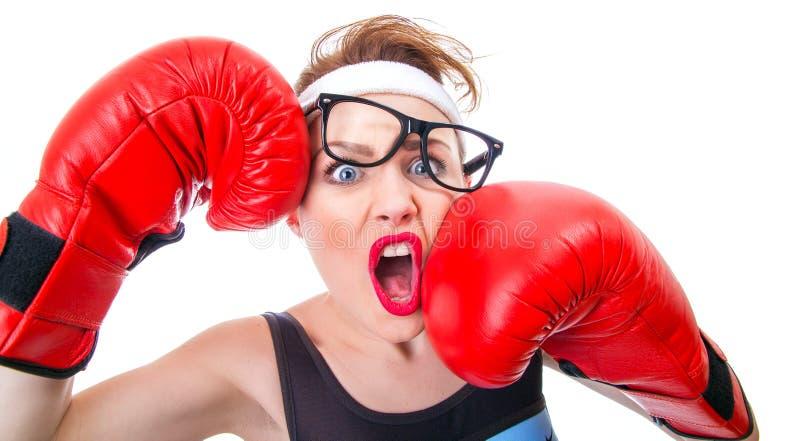Rolig kvinna för boxare arkivfoton
