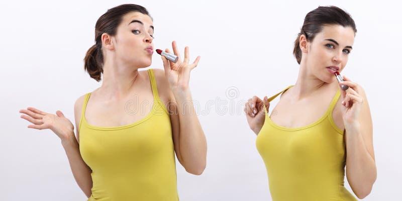 Rolig kvinna med läppstift, glat som isoleras på vit royaltyfri fotografi