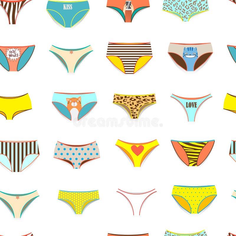 Rolig kvinnlig underbyxormodell av olika sorter vektor illustrationer