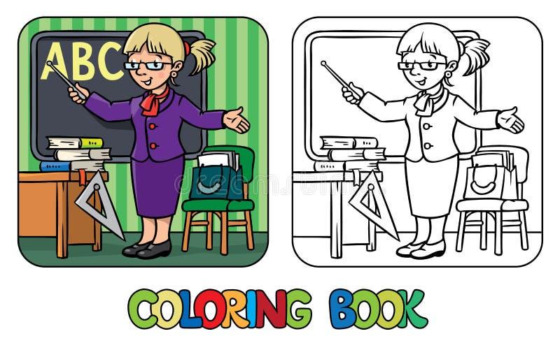 rolig lärare för färgläggningdiagram för bok färgrik illustration Yrkeserie royaltyfri illustrationer