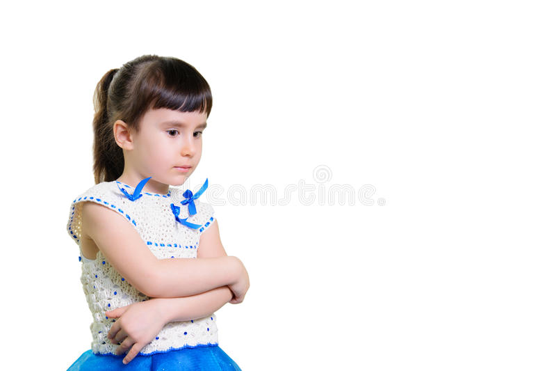 Rolig le liten flickastående över vit bakgrund fotografering för bildbyråer