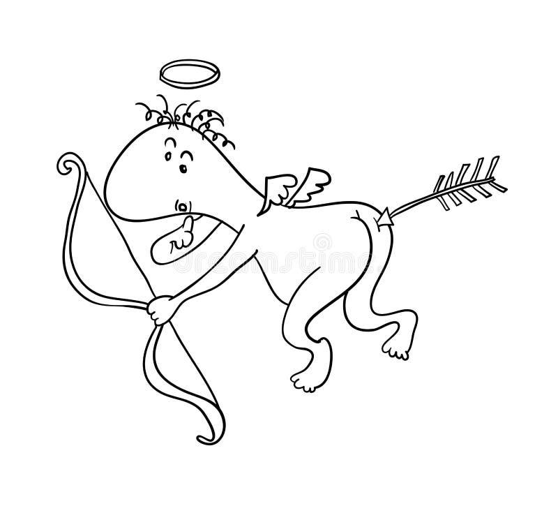 Rolig lite cupid stock illustrationer