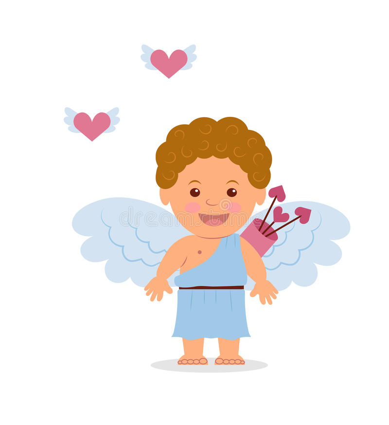 Rolig lite cupid Illustration av valentin dag vektor illustrationer