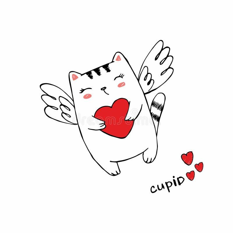 Rolig liten kattkupidon med hjärta Illustration av en dag f?r valentin` s Kattängel med vingar Vektorillustration i en tecknad fi royaltyfri illustrationer