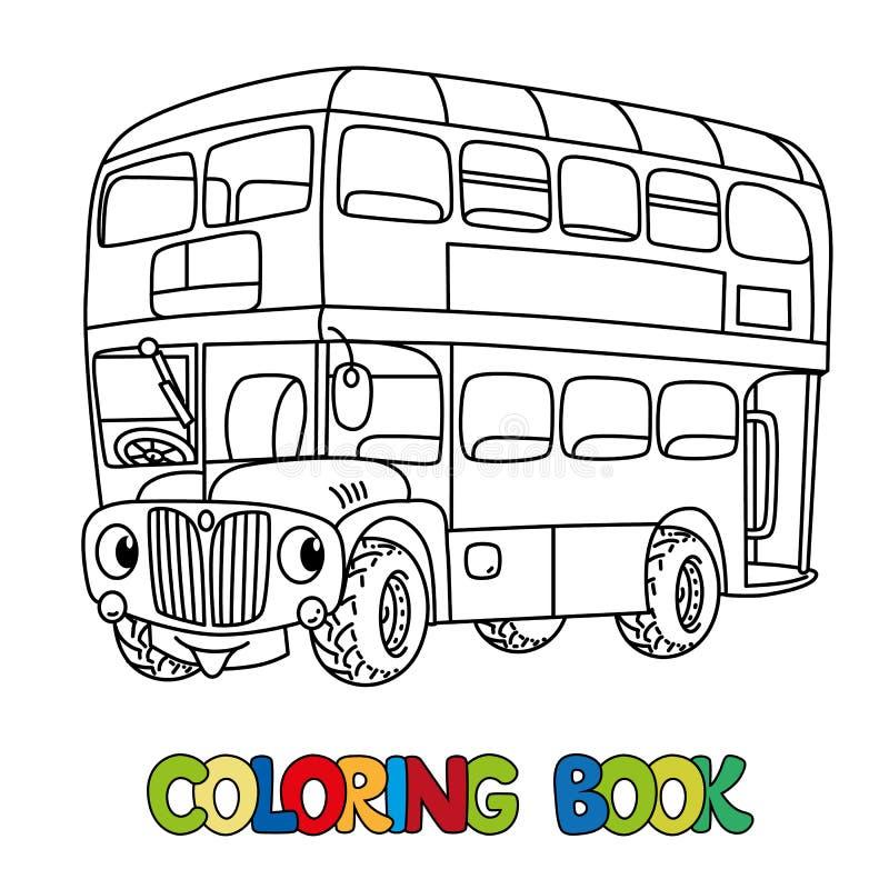 Rolig liten London buss med ögon för färgläggningdiagram för bok färgrik illustration royaltyfri illustrationer