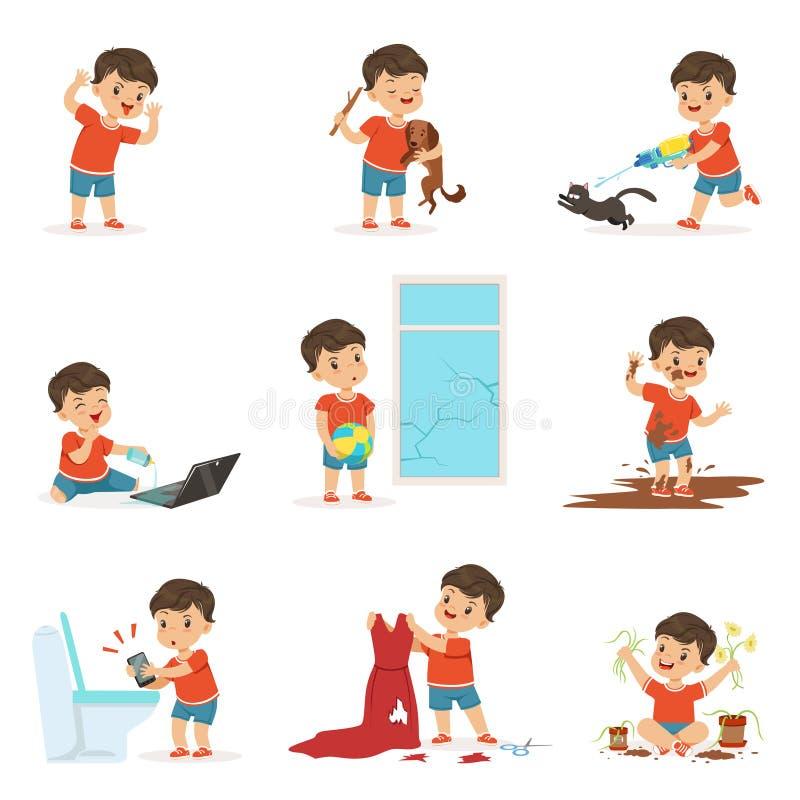 Rolig liten unge som spelar lekar och gör röra vektor illustrationer