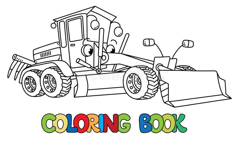 Rolig liten väghyvelbil med ögon för färgläggningdiagram för bok färgrik illustration vektor illustrationer