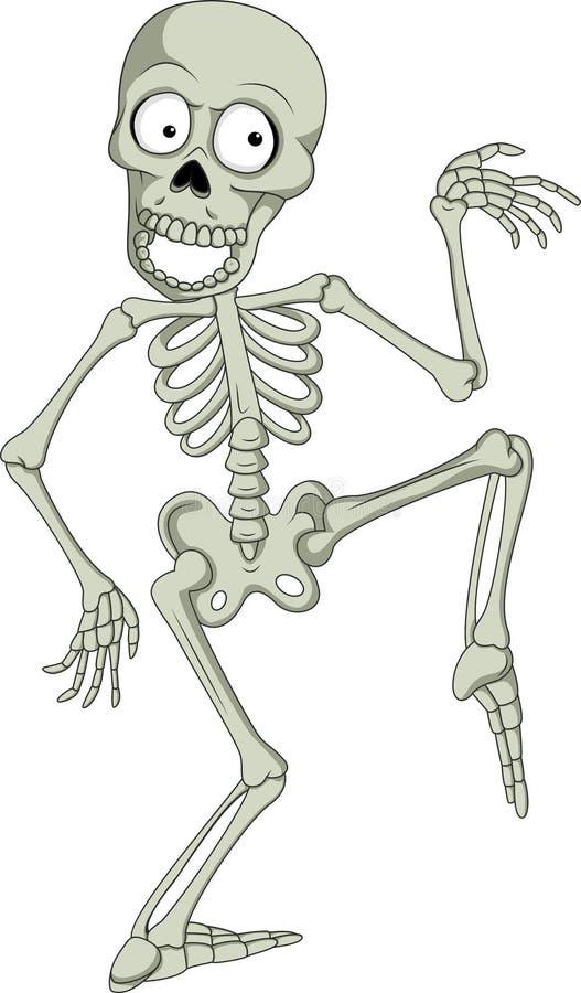 Rolig mänsklig skelett- dans för tecknad film stock illustrationer