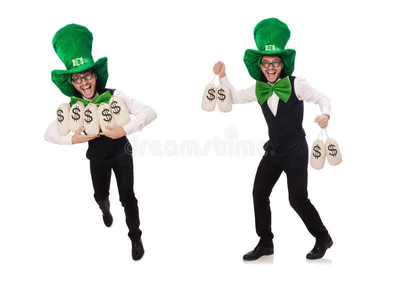Rolig man i St Patrick feriebegrepp arkivfoto