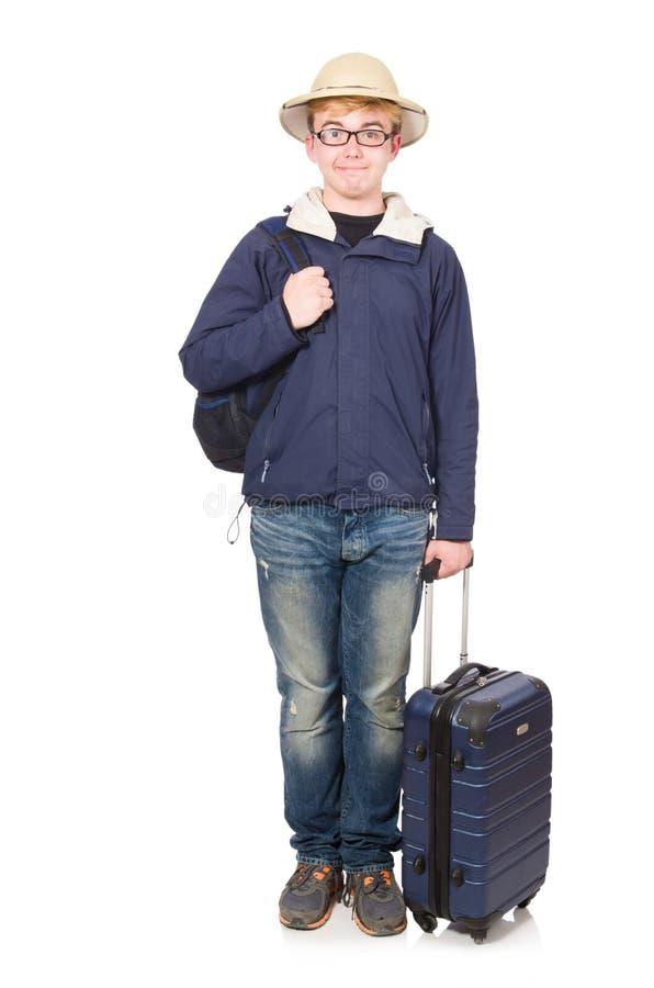 Rolig man med att bära för bagage arkivfoto