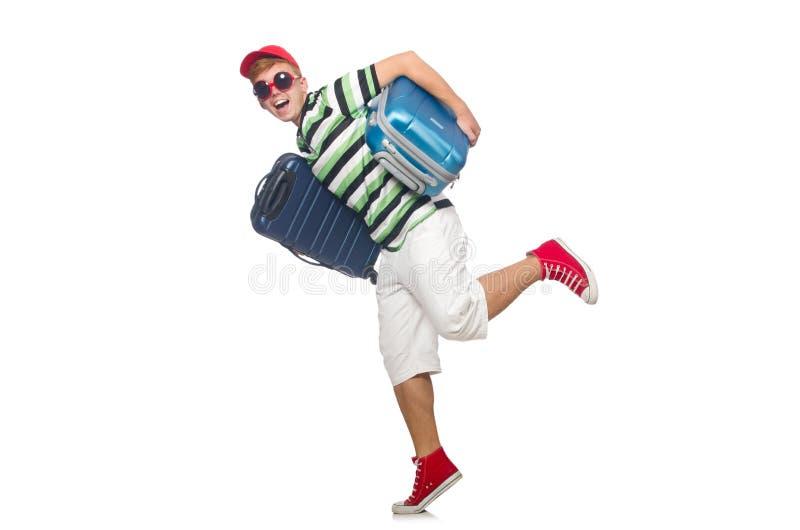 Rolig man med den isolerade resväskan royaltyfria bilder